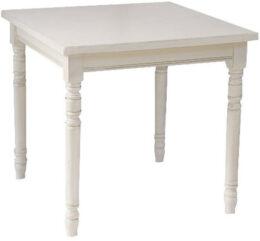tavolo 80x80 bianco piede tornito e piano massello