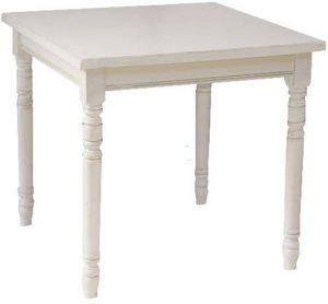 tavolo 80×80 bianco piede tornito e piano massello