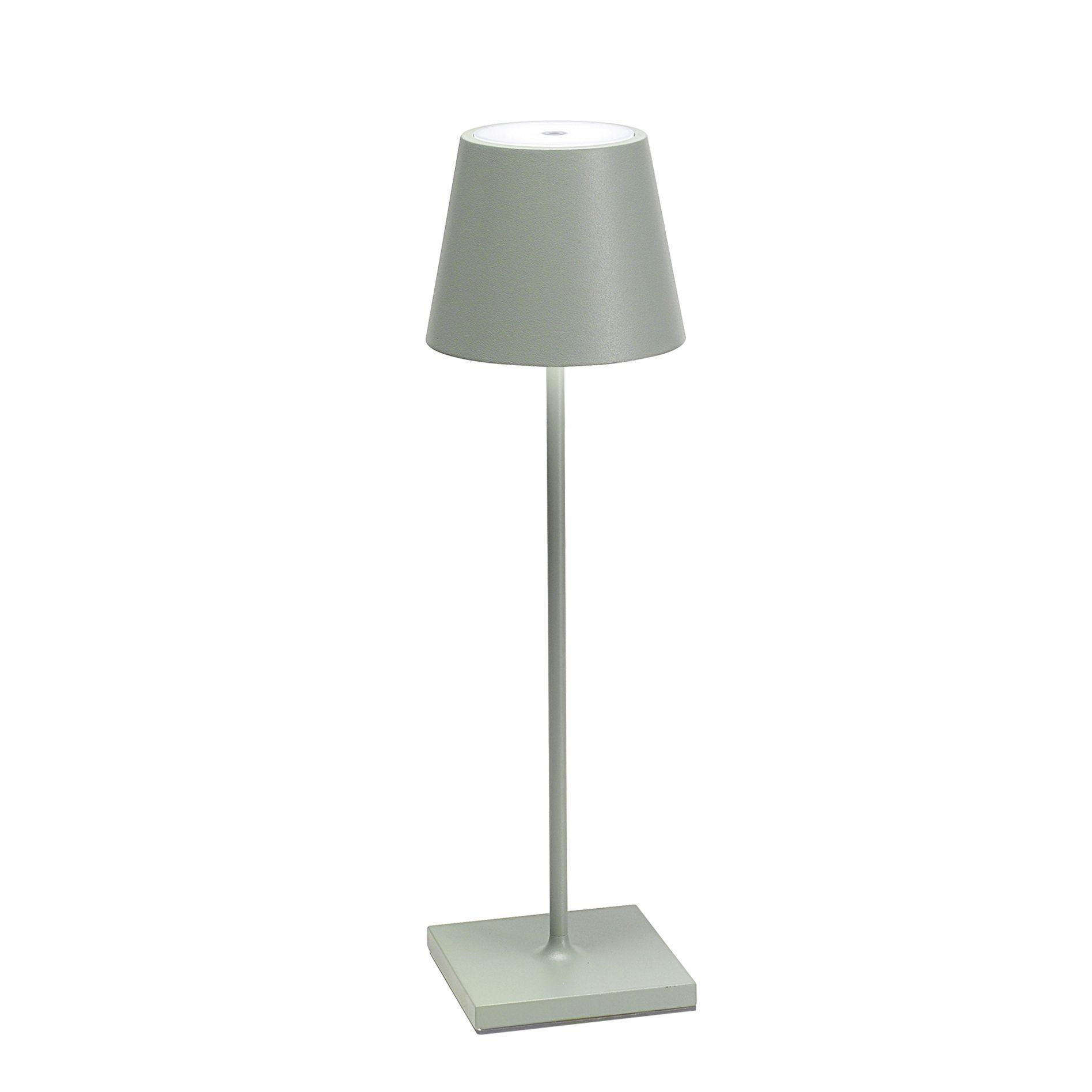 Poldina Pro Lampada Da Tavolo Con Base Di Ricarica Wireless Colore Salvia Agape Forniture